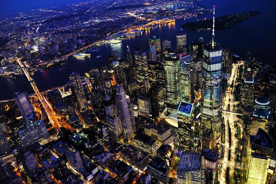 NYC night scenes overlooking