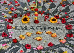 The Imagine mosaic at Strawberry Fields: A tribute to John Lennon in Central Park
