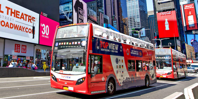a TopView Double Decker Hop-on Hop-off Bus at Times Square