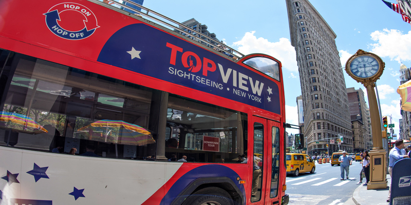 a TopView Double Decker Hop-on Hop-off Bus on the Street