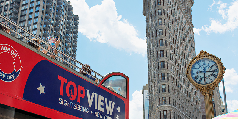 a TopView Double Decker Hop-on Hop-off Bus in Fifth Avenue