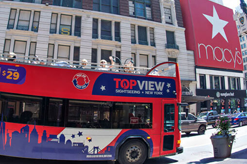 a TopView Hop-on Hop-off Bus Near Macy's
