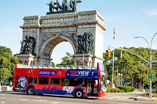 a TopView Double Decker Bus with Grand Army Plaza