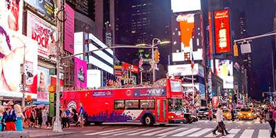 a TopView Double Decker Bus at Time Square