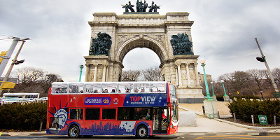 a TopView Double Decker Bus in Grand Army Plaza