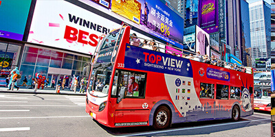 a TopView Double Decker Bus in Time Square