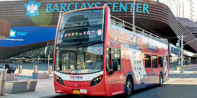 a TopView Double Decker Bus in Front of Barclays Center