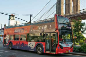 a TopView Double Decker Bus near to Brooklyn Bridge